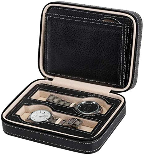 Caja de joyería de 2 capas pendientes anillo collar pulsera caja de almacenamiento clásico reloj PU cinturón cerradura grande para niñas mujeres madres hijas - rosa