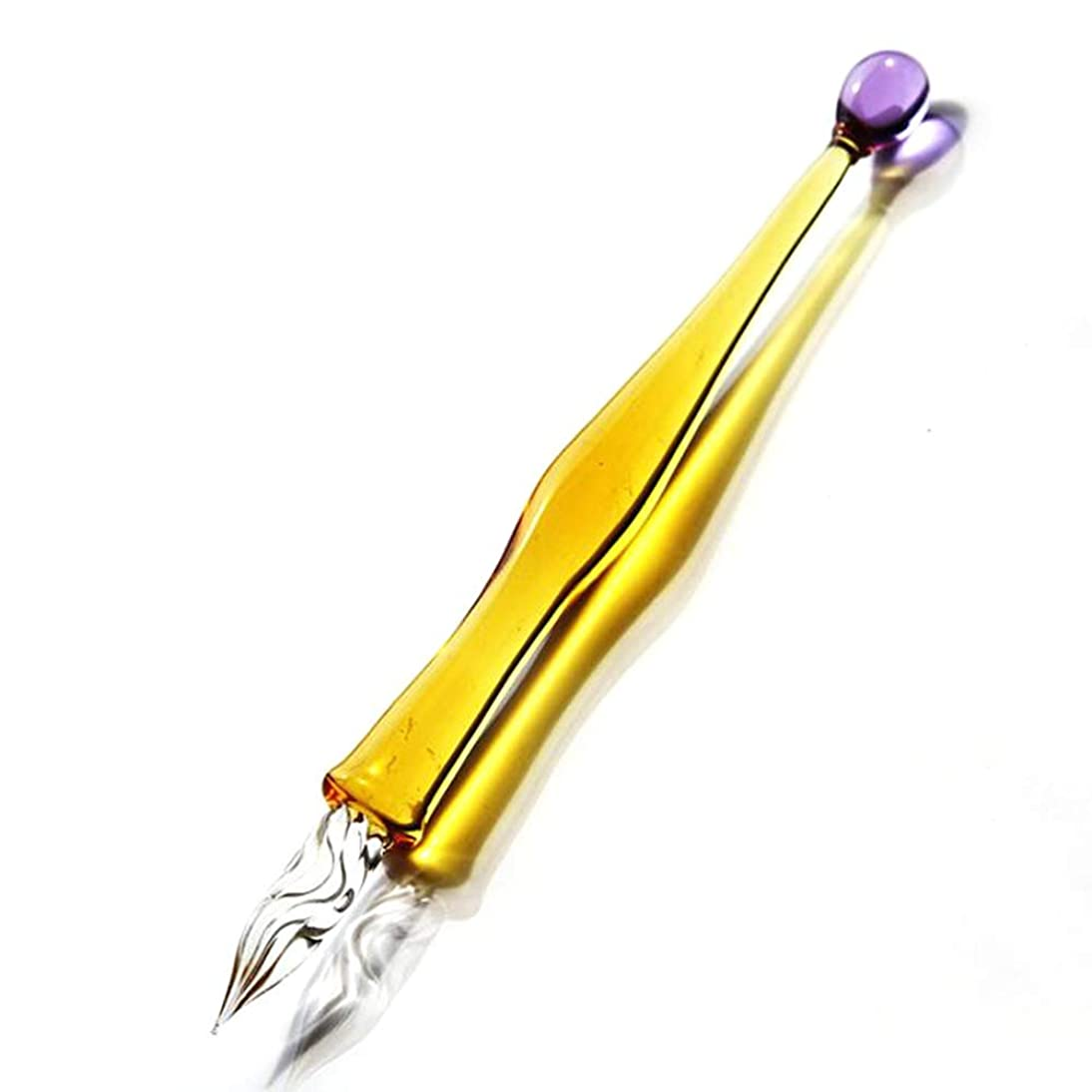 Yummy Bun Elegant Handmade Yellow Crystal Glass Dip Pen Calligraphy Retro Signature Pen