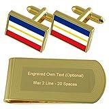 Select Gifts El Estado federado de Mecklemburgo-Pomerania Occidental de la Bandera estatal de Tono Oro Gemelos Money Clip Grabado Set de Regalo