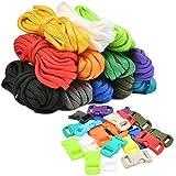 N\A WOWOSS Cuerda de Paracord 550 12 Colores + 24 Piezas Hebillas de Plástico para Pulseras Paracord, Cuerda de Paracaídas e Pulsera Supervivencia