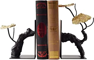 Bookends for Shelves Bookled Bookend Lotus الديكور على الطراز الصيني Bookshelf Iron Anti-Moving Bookend لاستيعاب كتب الكتب...