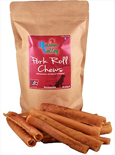 Holsome Valley Pork Roll Dog Chew Treats All Natural Premium Rawhide Alternative Additive Free Sourced and Made in The USA only Healthy Highly Digestible 12 Pack
