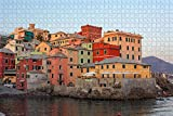 Rompecabezas para Adultos Italia Génova Casas Coloridas Puzzle 1000 Piezas Recuerdo de Viaje de Madera