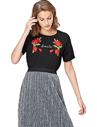 find. Camiseta con Mensaje con Cuello Redondo Mujer, Negro (Black), 36, Label: XS
