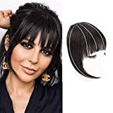 DeeThens Clip in Bangs Hair Clip On Bangs Human Hair Black Bangs HairPieces Clip on Real Hair Flat Neat Bangs with Gradual Temples Hairpieces for Daily Wear(Color:Natural Black)