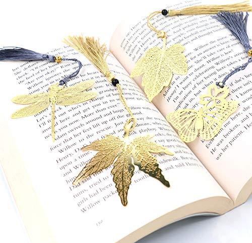 Tueascallk 4 Pcs Metal Bookmarks Golden Hollow Art Bookmark with Gift Card and Tassel