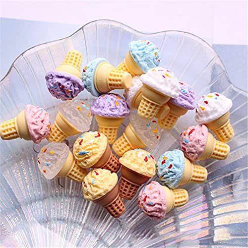 N\C 10Pcs analog 3D micro ice cream resin Capoken flat back fake food play glamour scrapbook decoration accessories