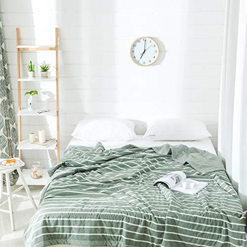 Honglimeiwujindian Bettbezug Baumwolle Decke Klimaanlage Quilt Bequeme und weiche Strickmaschine Wash Blanket Bezug Bettwäsche Kinder Mädchen Doppelbett (Farbe : Grün, Size : 150x200cm)
