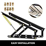Happybuy Pair 2FT Pneumatic Storage Bed Lift Mechanism Heavy Duty Gas Spring Bed Storage Lift Kit Box Bed Sofa Storage Space Saving DIY Project Lifter Lift up Hardware Black (B60)