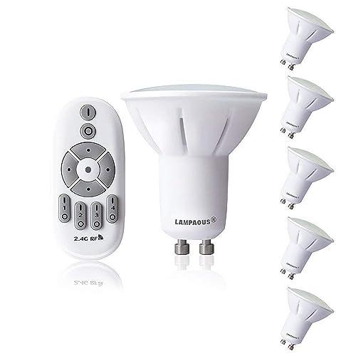Lampaous Bombillas LED GU10 5W Bombilla 50W Lámpara Halógena Equivalente,Regulable 2700K-6500K,