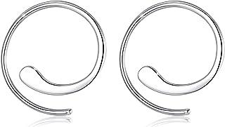 GOXO Pendientes de aro de plata 925 pendientes de botón para mujer
