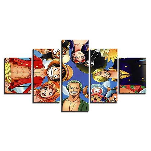 FJLOVE Impressions sur Toile Imprimer Anime Cartoon Japan One Piece Manga Poster Image 5 Pièces Moderne Peinture Art Mural pour Salon Chambre À Coucher Décorations,Frameless,150x80cm