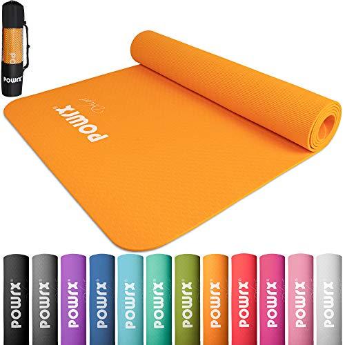 POWRX Yogamatte Deluxe- rutschfest - TPE umweltfreundlich | Gymnastikmatte TPE 173 x 61 x 0,5 cm | Trainingsmatte Pilates-/Übungsmatte | Hautfreundlich (Mango)