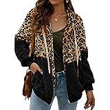 abingoo cappotto donna casual felpa con cappuccio giacca leopardo invernale cerniera giacche e cappotti vello caldo hoodies outwear,nero,l