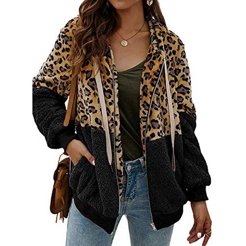 ABINGOO Damen Kapuzenjacke Warm Mantel Teddy-Fleece Plüschjacke Leopard Casuale Zip Hoodie Cardigan Outwear,Schwarz,L