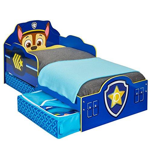 Paw Patrol Cama Infantil con Espacio de Almacenamiento Inferior, Madera, Azul, 68.00x77.00x143.00 cm