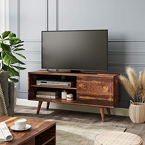 WLIVE Mid-Century Modern TV Stand for 40/43 inch TV, Entertainment Center with Storage Cabinet and Open Shelves, Media Console for Living Room