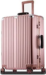 GLJJQMY Trolley Case Retro Suitcase Aluminum Frame Small Suitcase 20 Inch 24 Inch Lock Box Universal Wheel Trolley case (Color : Rose Gold, Size : 20 inches)