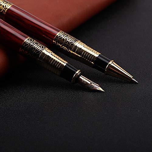 Bolígrafo, bolígrafo de firma, eje de acero inoxidable con borde cromado, resorte M, bolígrafo, bolígrafo ejecutivo, incluido estuche de regalo Bolígrafo X2