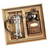 GEFUHONG Manuelle Kaffeemühle und französische Presse Kaffee, Vintage Stil Holz Handmühle...
