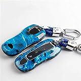 Zjxfff Funda de llave de coche para Porsche Cayenne 958 911 lepin 996 macan panamera 997 944 924 987 987 gt3 cayman 987 auto titular shell cover-azul