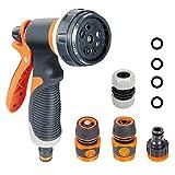 Onarway Garden Hose Spray Gun Set 8 Patterns High Pressure Nozzles, Anti-Slip Design