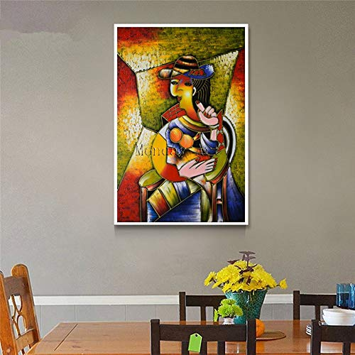 wZUN Pintura de Lienzo Abstracta bárbaro Profesional Sala de Estar decoración del hogar Pintura de Pared Pintura al óleo 60x90 Sin Marco