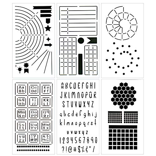Ultimate Productivity Journal Stencil Set - Custom-Designed Supplies for Bullet Dotted Journal Planners, DIY Templates to Create Calendars, Lists, Letters, Numbers, Habit Trackers by Sunny Streak