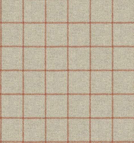 Dobladillo & Viebahn GmbH & Co. KG Hampton - Tela para Muebles, diseño a Cuadros, Color Beige como Tela Resistente, Tejido de tapicería a Cuadros para Coser y Tejer, Lana Virgen