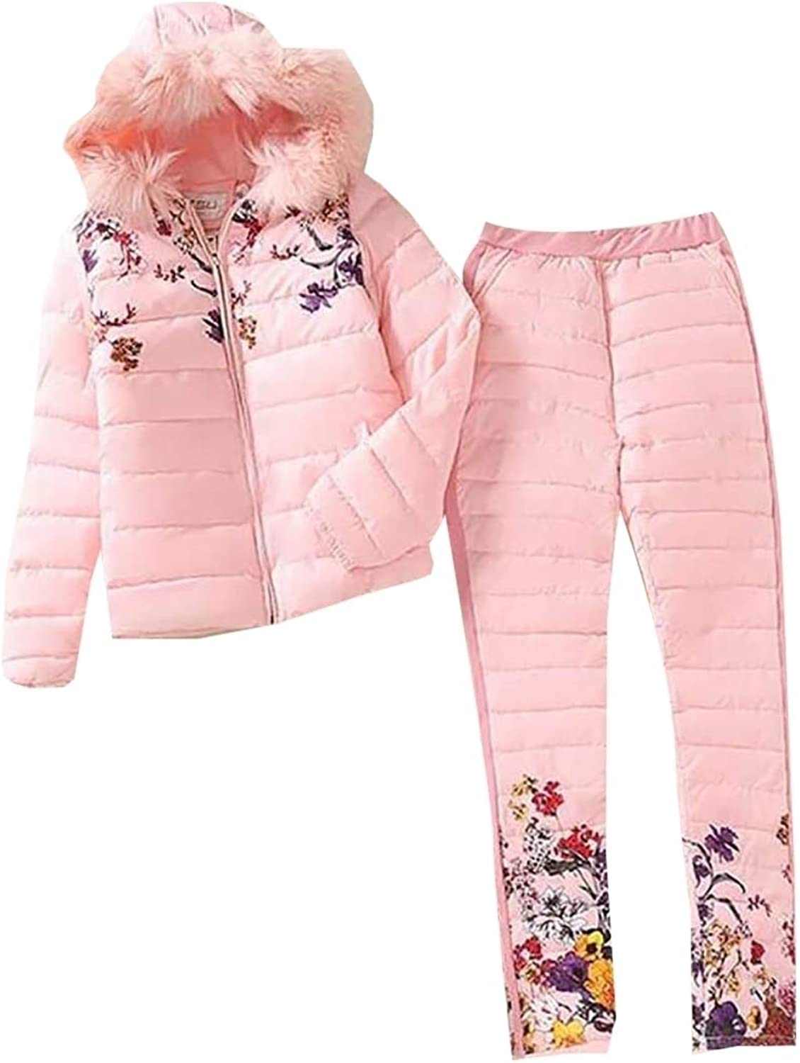 LEISHOP Womens Winter Print Hooded Fur Down Jacket Down Pant 2 Piece Set