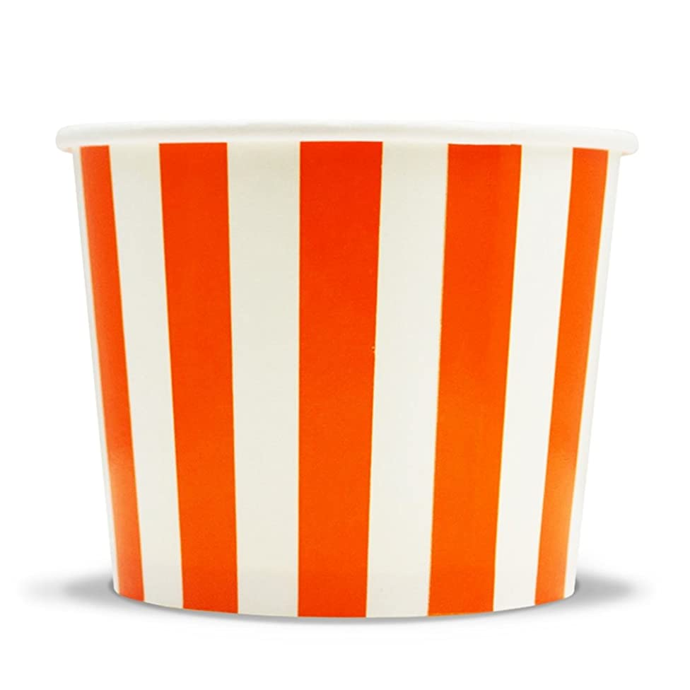 Orange Paper Dessert Cups - 12 oz Striped Ice Cream Bowls - Perfect For Your Yummy Foods! Many Colors & Sizes - Frozen Dessert Supplies - Fast Shipping! 50 Count