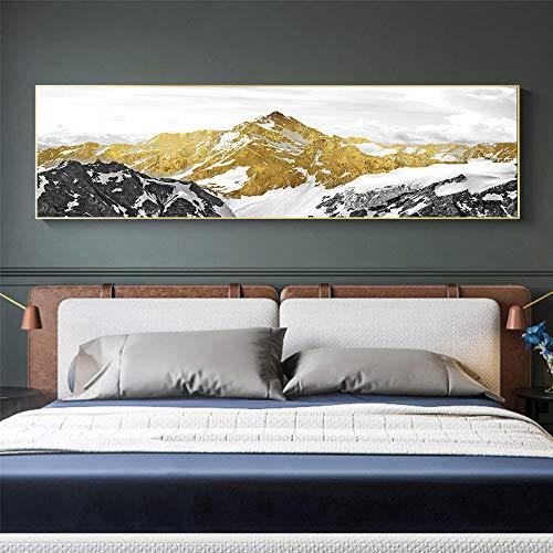 Cuadro sobre Lienzo Cuadro De Pintura Decorativa Impresa En Lienzo para Decoración del Hogar Arte De Pared Abstracto Dorado con Mo Tain 20X28 Pulgadas