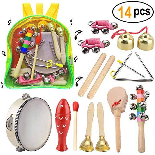 Vonker Juguetes Musicales para niños de Madera 14pcs Conjunto de Instrumentos Musicales para bebés Jjuguetes educativos de percusión para niños con Mochila de Almacenamiento