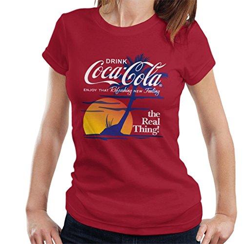 Coca Cola Sunset White Text Women's T-Shirt