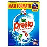 Bio Presto Classico Detersivo Lavatrice in Polvere, 4 agenti Sciogli Macchia, confezione maxi formato, 80 Misurini