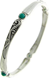 Story Collection Women's 4mm Stretch Stack-able Designer Style Silver with Turquoise Bracelet 4M506