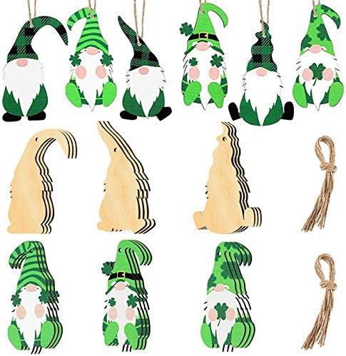 24 Pcs St Patrick s Day Shamrock Ornaments Wooden Ornaments Gnome Wooden Pendant Leprechaun product image