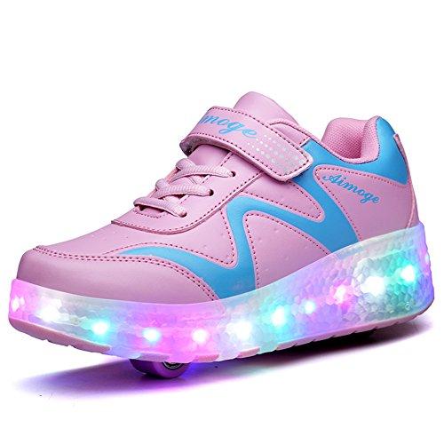 Unisex Niños LED Luces Zapatos Carga USB 7 Colores Iluminar LED Doble Ruedas Zapatos Retráctil Tecnologia Skateboarding Rollerblades Aire Libre Deporte Zapatos para Niños Niñas