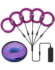 Lychee draagbare 5 x 1 meter neon lichtgevende strobing elektroluminescerende draad flexibele helder neonlicht EL-draadkabel met 3 modi