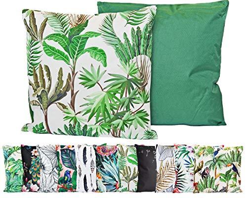 JACK Outdoor Lounge Kissen 45x45cm Motiv Dekokissen Wasserfest Sitzkissen Garten Stuhl, Farbe:Dschungel