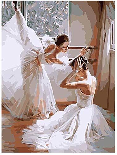 Fanjian Pintura por números Colorear Lienzo Decoración para el hogar - Bailarina de Ballet de pie uno al Lado del Otro 16