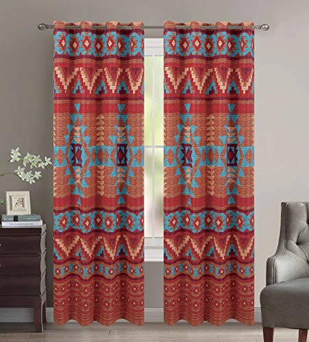 Thermal Insulated Room Darkening Grommet Window Curtains Set Decorated in Southwestern Patterns and Rustic Colors of Brown Turquoise Red Orange Burgundy and Rust (Austin Brown)