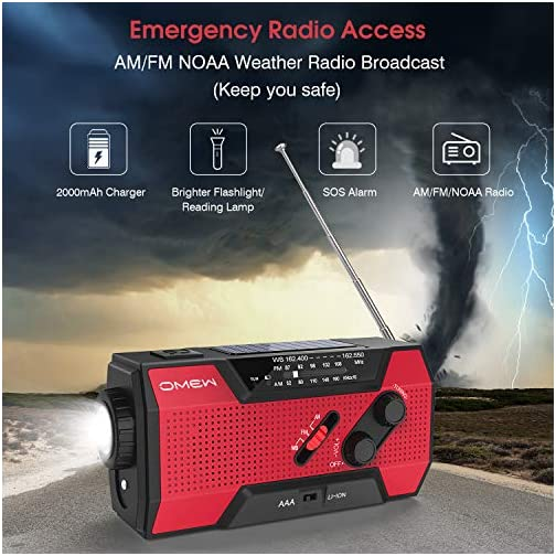 Emergency Weather Radio,Omew Portable Solar Hand Crank NOAA Weather Radio with AM/FM, LED Lamp, 2000mAh Power Bank Phone Charger, SOS Alarm and Waterproof Handheld Flashlight 5