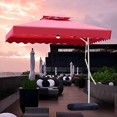 ZYFWBDZ Paraguas de Patio con compensación para Colgar, para Piscina, para Exteriores, para Uso en voladizo, para el Mercado, con manivela, Base Cruzada y Luces LED de energía Solar,Rojo,2.2M