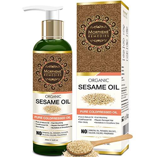 sesame oils Morpheme Remedies Organic Sesame Pure ColdPressed Oil For Hair, Body, Skin Care, Massage, 200 ml