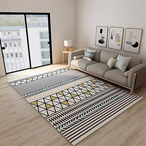 RUGMYW Facil De Mantener Alfombra de Juegos niños Patrón geométrico Beige Negro Verde marrón Amarillo alfombras Infantiles Baratas 180X280cm