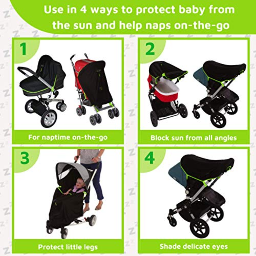 Stroller Sun Cover (0-6m) | Universal fit Baby Sunshade and Blackout Blind for Strollers | Breathable and Stops 99% of The Sun's Rays (UPF50+) | SnoozeShade Original - Best-Selling Safety Green Trim