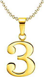 925 Sterling Silver 18k Gold Plated Number 0-9 Charms Pendant Necklace with Chain