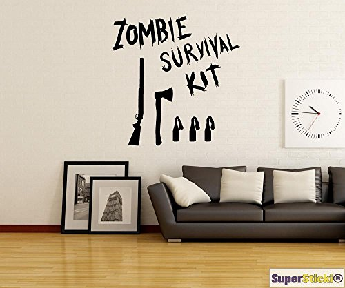 SUPERSTICKI Zombie Survival kit sjabloon bijl Molotow Cocktail wandtattoo 60 x 60 cm hobby decoratie