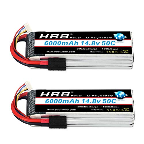 HRB 2pcs 4S Lipo Battery 14.8V 6000mAh 50C with TRX Plug for RC Helicopter RC Airplane RC Car RC Truck RC Boat Remote Control Traxxas Xmaxx Buggy Truggy Crawler Monster Car